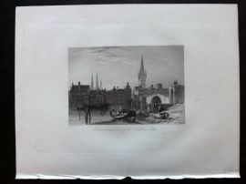 After Vickers 1834 Print. Entrance to Lubeck by the Holstein Castle, Germany
